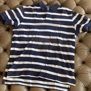White blue striped Ralph Lauren polo